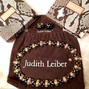 Judith Leiber Black Gold Necklace Earring Set